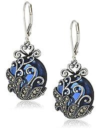 Amazon Collection 亚马逊自有品牌 仿古 925纯银 蓝玻璃 镂空花纹耳饰耳勾