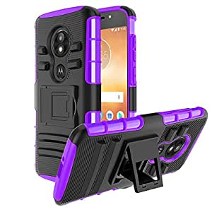 Moto E5 Play Case/Moto E5 Cruise Case, CaseBing [重型][内置支架][减震][双层][防滑][加固边角]保护套盖 紫色