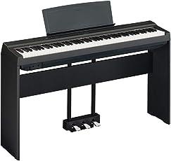 YAMAHA 雅马哈 电钢琴新款P125成人88键重锤数码电子钢琴P115升级智能电钢琴 新款P-125黑主机+木架+三踏板(亚马逊自营商品, 由供应商配送)