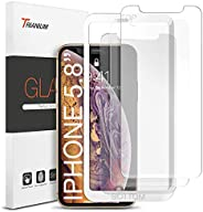 iPhone X 屏幕保护膜,Trianium (3 件装,饱和透明)iPhoneX 钢化玻璃屏幕带对齐框[3D Touch] 0.25mm 屏幕保护玻璃适用于苹果 iPhone X Phone 2017