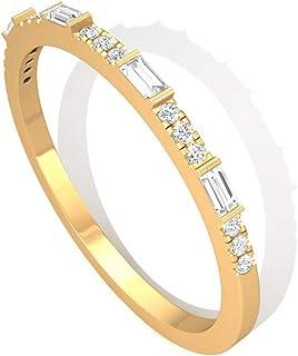 圆形长方形 SGL 认证钻石新娘戒指,婚礼新娘周年纪念半永恒戒指,独特可堆叠配套承诺戒指,母亲节,14K 黄金,尺码:美码 9.0