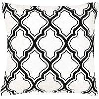 花王 抱枕套 摩洛哥图案 白色& 黑色 45×45cm (焦糖 时髦 雪尼尔织物棉涤材质)