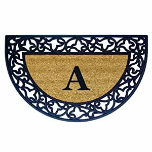 Creative Accents Acanthus Border with Half Round Rubber/Coir Doormat, 22 by 36-Inch, Monogrammed A