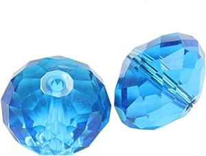 Adabele 奥地利玻璃水晶珠适用于施华洛世奇水晶 Preciosa 耳环手镯项链珠宝工艺制作 Capri 蓝色 4mm x 6mm 632181314791