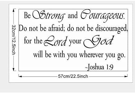Be Strong and Courageous Do Not Be Afraid Joshua 1:9 宗教墙引语艺术大墙贴贴纸引语家庭装饰装饰 黑色 14'' X 32'' BSC-2