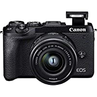 Canon 佳能 EOS M6 Mark II 系统摄像头(32.5 万像素,7.5 厘米(3.0 英寸)触摸屏,数字 8 4K 视频,WLAN,蓝牙),黑色3611C012 mit EF-M 15-45mm f/3.5-6.3 IS STM Kit+EV