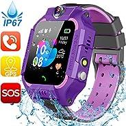 【含 SIM 卡】儿童智能手表 - GPS 追踪器男孩女孩智能手表手机 - 防水智能手表带 SOS 游戏触摸数字腕表假日玩具生日礼物Z6W Purple Waterproof GPS Tracker Watch+FREE