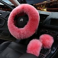 Nuobo 3 件冬季女式车向轮套魅力保暖长羊毛毛绒汽车手刹套齿轮换套套装 14.96 英寸 粉红色