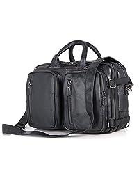 真皮男式公文包背包邮差旅行包笔记本电脑包(黑色)