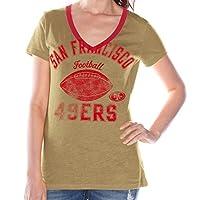 G-III 运动旧金山 49 人队女式弗莱亚闪烁的仿旧 V 领 T 恤