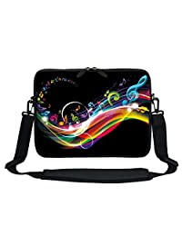 Meffort Inc 11.6 Inch Neoprene Laptop Sleeve Bag Carrying Case with Hidden Handle and Adjustable Shoulder Strap Rainbow Music Note