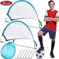 2 件可折叠弹出式足球门便携式足球门网,带便携包足球训练门网,适合即时足球游戏花园室内户外活动