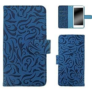 白色边框手机保护壳翻盖式 トライバルエンボス  蓝色 16_ ZTE Axon 7