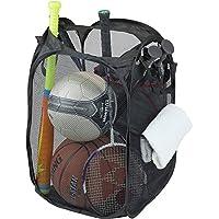 SimpleHouseware Mesh Pop-Up Laundry Hamper Basket With Side Pocket, Black