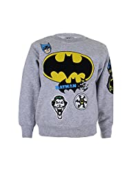 DC 漫画男孩蝙蝠侠徽章长袖运动衫