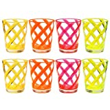 QG 8 件丙烯酸 453.59 毫升霓虹色条纹果汁杯,带透明重底座塑料杯,4 种混色