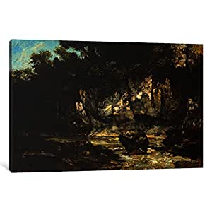 iCanvasART 15051-1PC3 Landscape with Stag Canvas Print by Gustave Courbet, 0.75 by 18 by 26-Inch
