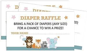 Inkdotpot 30 动物 婴儿洗澡邀请卡 - 中性填充空白邀请函 Diaper_raffle 2 x 3.5 Inches