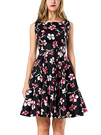MOSZA 女士复古无袖花卉优雅秋季夏季连衣裙 花卉-10 Small