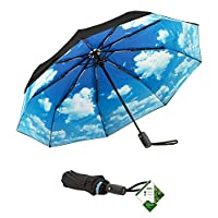"Lightweight ""Dupont Teflon"" Travel Umbrella, Virtually Indestructible Windproof Canopy,Lifetime Replacement Guarantee, Automatic Open/Close For One Handed Operation, Slip-Proof Handle for Easy Carrying By Repel"