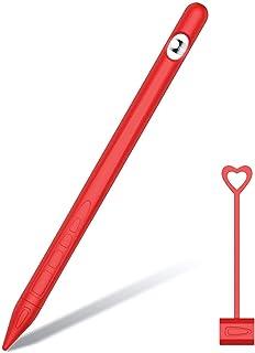 BESTeck 硅胶支架保护套保护套保护套适用于*代苹果铅笔(柔软的手柄袋带充电盖支架和保护笔尖盖)(红色)