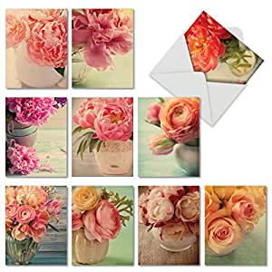 M6553TYG Full Blooms: 10 Assorted Thank You Note Cards Featuring Nostalgic and Softly Hued Peonies and Roses Set in Varied Vases, w/White Envelopes.