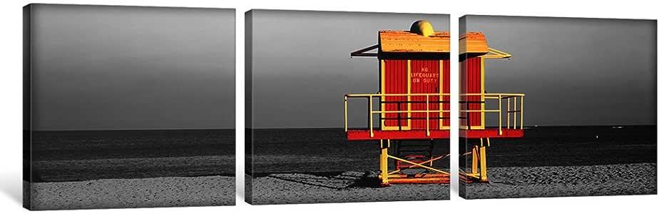 "iCanvasART 1 件 Lifeguard HutMiami Beach,美国佛罗里达州彩色流行帆布画,Panoramic Images 出品,121.92 cm x 40.64 cm/1.91 cm 深 36"" x 12"" ICA1272"
