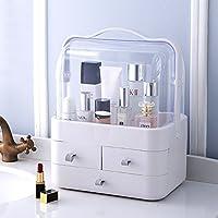 特大号抽屉式网红款化妆盒 手提透明护肤品桌面杂物收纳盒梳妆台 (天空灰)