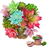UNQUER 16 件人造多肉植物 - 3 件粗麻花盆,完美迷你人造混合小批量花混合塑料假绿色逼真悬挂装饰大号装饰品