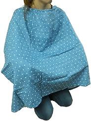白井产业日本制造哺乳披肩牛仔风格双层纱布 ブルー水玉