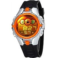 数字男孩儿童运动多功能LED背光黑色橡胶防水石英手表橙色
