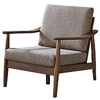 百伽 马来西亚原装进口单人沙发客厅家具实木沙发简约现代小户型沙发北欧布艺沙发63375 单人位【亚马逊自营,供应商配送】