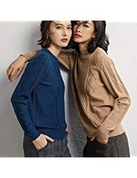 唐岚 冬麻花圆领羊绒衫女时尚百搭短款套头宽松毛衣打底衫