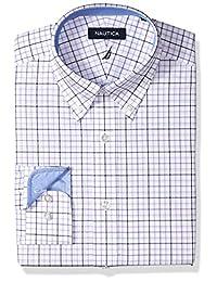 Nautica 男式经典性能条纹扣领礼服衬衫