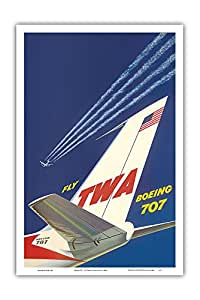 "Pacifica Island Art Boeing 707 - Fly TWA(Trans World Airlines) - David Klein 复古航空旅行海报 c.1960s - 艺术大师印刷 12"" x 18"" PRTB3712"