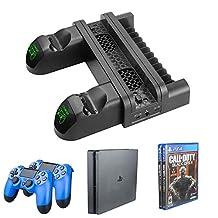 MOSTOP PS4 冷却系统风扇垂直 PS4 支架带双控制器充电基座,12 个游戏存储冷藏基座,适用于 PS4/ PS4 Pro/ PS4 Slim