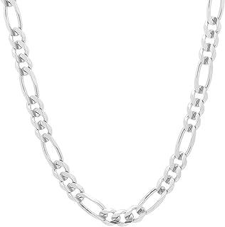 NYC 标准男女通用意大利式加厚链 7.5 毫米费加罗链 标准纯银