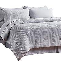 """床上用品套装床上用品条纹泡泡纱超柔软轻羽绒替代灰色床上用品套装 灰色 Full/Queen(88x88"""")"""