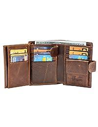 大型 RFID 皮卡夹三折钱包卡扣开合三层身份证夹