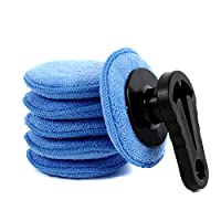 FANSI 7 件汽车蜡涂抹垫套件 4.7 英寸超细纤维海绵涂抹器 软泡沫打蜡垫带手柄 大 蓝色 LX-061