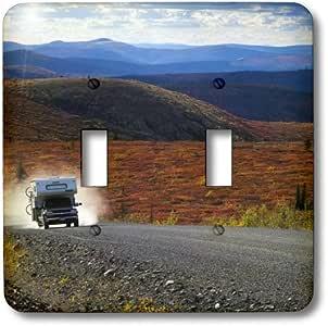 3dRose lsp_70936_2 世界公路上皮卡骆驼,Alaska-Cn12 Tal0007 Theo Allofs 双拨动开关
