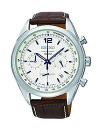 Seiko Men's Chronograph SSB095 Silver Calf Skin Japanese Diving Watch