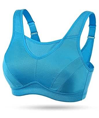 Wingslove 女士全覆盖高冲击无钢圈锻炼非衬垫运动文胸 蓝色 46G