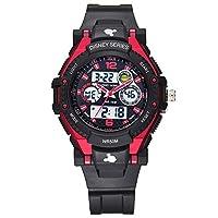 Disney 迪士尼 儿童手表学生手表男童夜光防水电子表55049R红色
