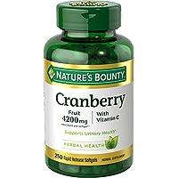 Natures Bounty  含维生素C的酸果蔓丸软胶囊,有利于机体,4200mg酸果蔓补品,250粒