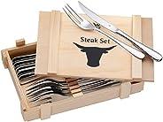 WMF 福腾宝 牛排餐具套装 12把 牛排刀 牛排叉 6组牛排餐具套装 Cromargan抛光不锈钢 木箱包装