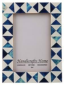 Handicrafts 家居图片相框 靛蓝三叶草手工天然骨头和树脂框照片尺寸 4x6 Indigo-3 4x6