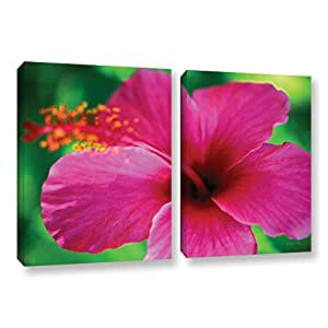 """ArtWall Kathy Yates 'Maui Pink Hibiscus' 2 Piece Gallery-Wrapped Canvas Artwork, 24 by 36"""""""