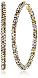ABS By Allen Schwartz Gold Tone and Pave Crystal Hoop Earrings