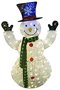 Alpine Corporation 50 in. White Thread Snowman Statue with 100 LED Lights 白色